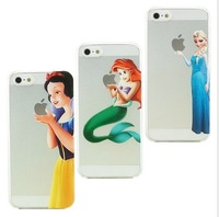 New fashional cartoon figure mermaid & Snow White & Elsa pattern TPU soft shell over case foriphone 5 5S free shipping N01
