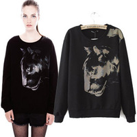 new European and American women's 2014 autumn and winter fashion sweater big leopard head print pullover jacket sleeve T-shirt