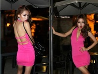 2014 Spring New Fashion Women Sexy above Knee mini Black Bodycon Bandage Dress Celebrity Casual Dress