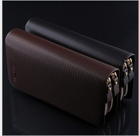 2014 New brand genuine leather men's wallets clutch money bags for men,Double ZIP Fashion casual purse 3