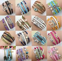 Sunshine jewelry store Womens Bracelets Fashion Vintage infinity Rudder Rectangle Leather Bracelet Multilayer Bracelets