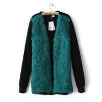 Women Fur Coats Famous Brand Designer Faux Fur Vest Winter Cardigan Tops Lady's Outerwear Mink Jacket Knitting Patchwork Sweater