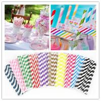 Hot Biodegradable Paper Drinking Straws Striped Birthday Wedding Party Straws Environmental Drinking Straws Decors Free Shipping