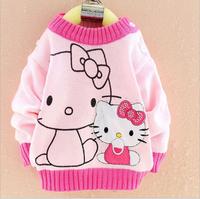 2014 autumn children cotton brand new t shirt girl longsleeve appliques sweater kid hello kitty top diamond clothing 3pcs/lot