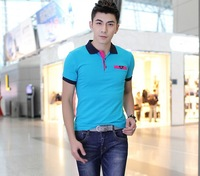 Free Shipping! 2014 Fashionable Active polo t-shirt men High Quality Spliced polo shirt M L XL XXL