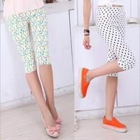 2014 New Summer Korean Version  Floral Thin Elastic Pencil Pants Feet Pants