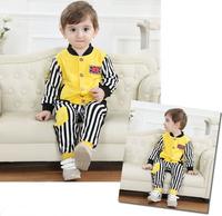 Retail 1-4Y handsome boy's set New 2014 children clothing sets cute kids set 2pcs boys' clothing sets(striped Jackets+pants)