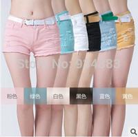 Free Shipping 2014 Fashion Women's Slim Fit Shorts Sexy Broken Colorful Denim Shorts All-match Hot Short Pants + tracking no.
