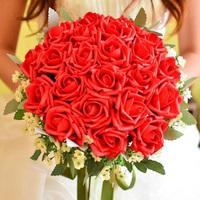 Promotion Vivid Romantic Wedding Colorful High Quality Silk Artificial Bride Hands Holding Rose Flower Bridal Bouquet Wedding