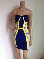 free shipping 2014 New arrival Women's striped blue mix color HL Bandage Dress Celebrity Party Evening Dresses HL