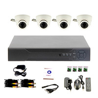 DIY CCTV System with 4 Indoor Dome Cameras for Home & Office