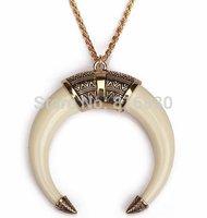 Vintage Chevron Crescents Ox Horn Pendant women Long Chain Necklace