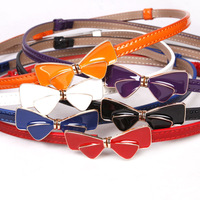 Free shipping Hot-sale high-quality  Women Interlocking Bow Buckle Patent Leather 1cm Skinny Belt with 6 colors BT-A197