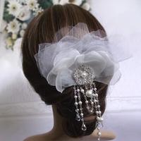 Elegant Bridal Hair Jewelry Handmade Silk Flower Crystal Headpiece Wedding Accessory Free Shipping