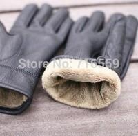 2014 New Winter Men genuine leather gloves winter thermal men's sheepskin gloves man gloves simple paragraph thickening