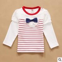 new 2014 children girl fashion striped long sleeve lace autumn winter t shirt top kids casual cotton dot princess t-shirts lot