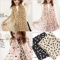 2014 New Stylish Girl Long Soft Silk Chiffon Scarf Wrap Polka Dot Shawl Scarve For Women Hot Sale(14 Colors)