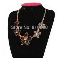 Brief Linked Camellia Leopard Flower Pendant Girls Choker Statement Necklace