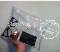 2014 Summer Fashion Unisex PVC Transparent Envelope Clutch ipad Clear Color Bag Handbag For Women