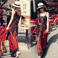 2014 New arrive woman's quality National trend abstract print sexy slit neckline suspender full dress online free shipping