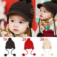 Free Shipping 1piece knitted Warm Baby Berets children kids girls/boy Hat, beanie cap child Hats Bomber, baby hat