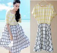 women summer dress 2014 elegant plaid dress Vintage sexy  Evening party chiffon desigual dresses free shipping