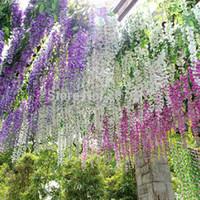 "35.4"" Artificial Silk Wisteria Flower Vine Wedding Home Garden Hanging Decor Free Shipping"