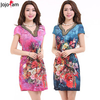 Sale! 2014 Summer Women's Faux Silk Little V Neck Noble Beading Plus Size Mother Clothing Flower Chinese ink Print Dress D0953#