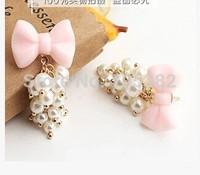 Korean Elegant Long Women Fashion Gold Plated Bow Pearl Acrylic Earrings Jewelry Pink Tassel Design Stud Earring Gift For Female