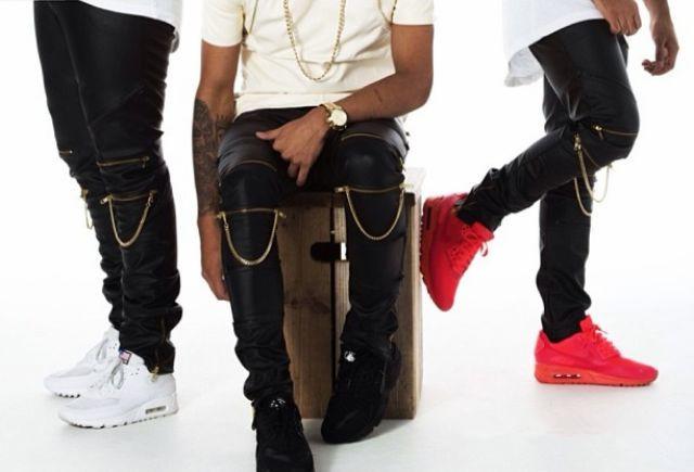 Kanye West Fashion Leather Zipper Chain Pants Men Skinny