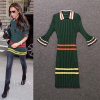 2014 Autumn/winter New brand women's Victoria Beckham same Striped color block long-sleeve turn-down collar Knitted dress