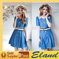 Summer new doll collar lace stitching light sweet lady large size denim dress free shipping