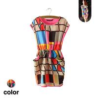 Free Shipping 2014 New Women Casual Sleeveless Summer Dress Multicolored Plaid O-Neck Sleeveless Dress