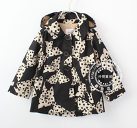 High quality 2014 new England style girl trench,print polka dot bowknot girl's coat,cotton hotsale children hood outerwear 2-8Y