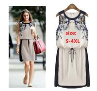 2014 New Summer Women's Clothing Best Quality Fashion Casual Dress Woman Chiffon Pinched Waist Women dress S-4XL Free Shipping
