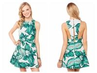 HIGH QUALITY!  print banana leaf A-line Dress girl fashion dress XS-XXL, 141516548