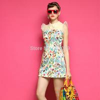 Women Fashion Print Mini Dress Ruffles Short Sleeve One Piece Cute Modern Dresses Ladies Summer Colorful Party Vestido de Festa
