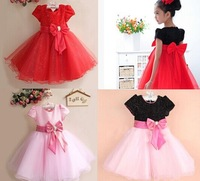 2014 New Design Children Girls Summer Party Dress Baby Girls Princess Dress With Bow Kids Clothes Pink Red Wholesale 5pcs/lot
