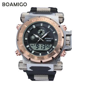 Супер люкс BOAMIGO марка мужчины военный спортивные часы время в пути кварцевых цифровые часы резинкой наручные часы