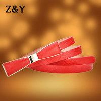 Fashion Adjustable Pigskin Metal Buckle Thin Women's Leather Belt Ladies Waistband Female Straps Ceinture BT065