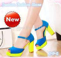Chunky plain women fashion summer sexy peep toe buckle strap platform high-heeled sandals plug size 40 41 42 free shipping