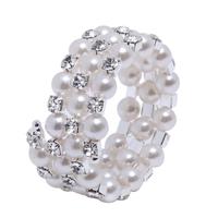 Best Wedding Accessory Three Rows Fauxl Pearls Crystal Rhinestone Party Evening Bridal Bracelet