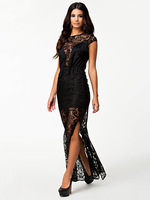 2014 New Arrival Black Fringe and Lace Evening Dress Floor-length Winter Summer Sexy Women Casual frozen echarpes Dresses