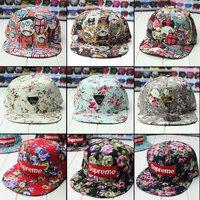 supreme hiphop hip-hop hat bboy baseball flat-brimmed hats for men and women the colorful small floral Harajuku unisex cap