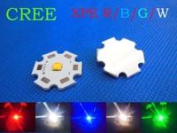 10pcs X Cree XPE XP-E R3 3W LED Neutral White Cool White Red Green Blue Royal Blue LED with 20MM heatsink