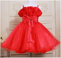 Wholesale Girls Princess Red Pink Baby Girls Sleeveless Summer Party Dress Formal dress Children Kids Clothes 5pcs/lot