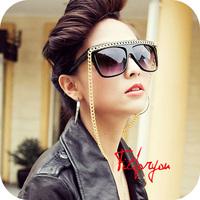 Free Shipping Black Glass Lady Gaga Tone Gold Chain Sunglasses Lady Glasses Girl Eyeglasses Oculos For Women Men/Sunglass-6