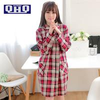 QHQ Women Nightwear Plaid Dress Cotton, Spring And Summer Lovely Robe Princess Home Furnishing Ladies Pajamas 3 Colors
