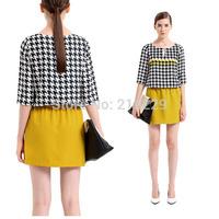 2014 NWT Autumn Dress For Ladies Half Sleeve Patchwork Surfbird Print  OL Style Women Dresses 2 Colors 0367OL