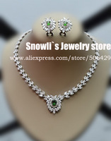 2014 luxury fashion Emerald zircon Austria crystal necklace earrings set, wedding, banquet, dress jewelry,S14523